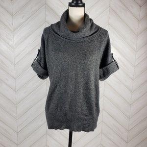 FENN WRIGHT MASON Gray Cowl Neck Roll Tab Sweater